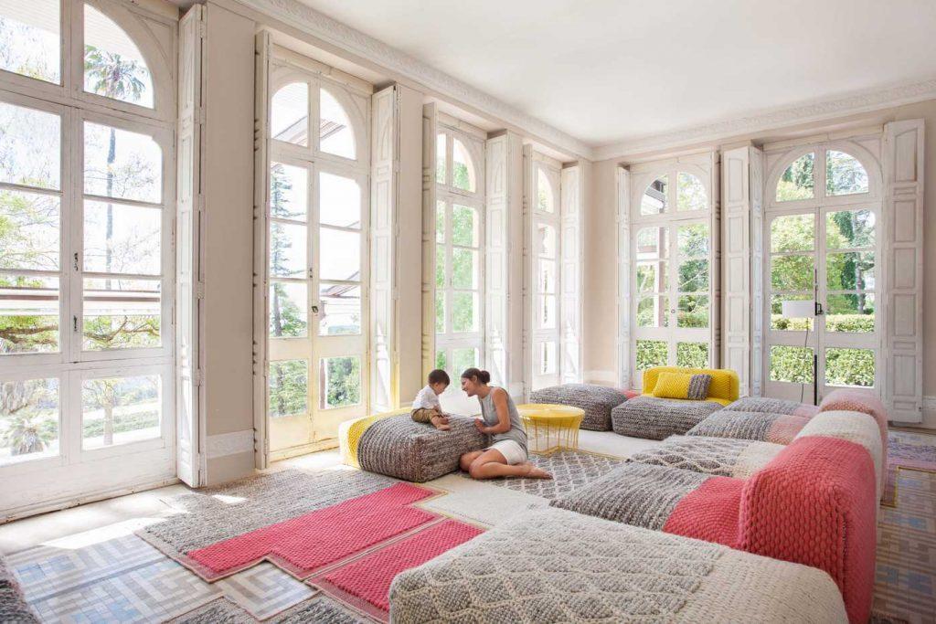 pouf plait rugs