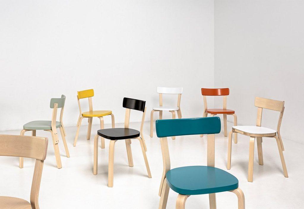 chaise bois couleurs