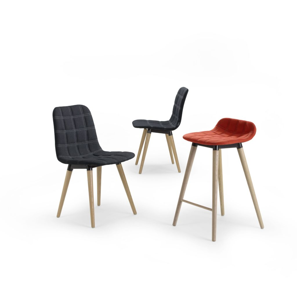 chaise cuir bop wood offecct