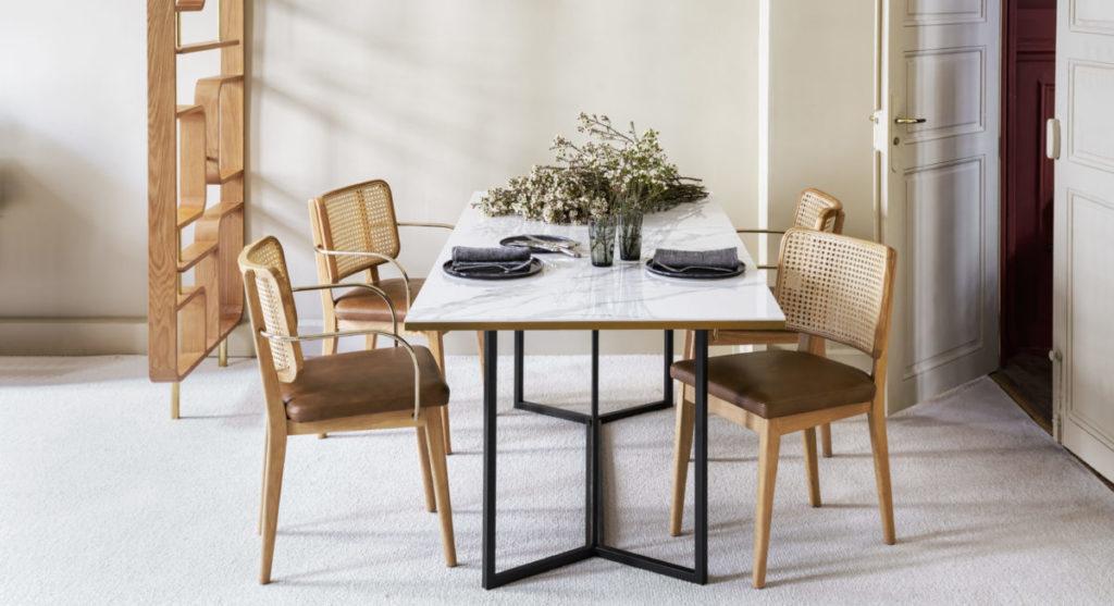 marbre noir table de repas