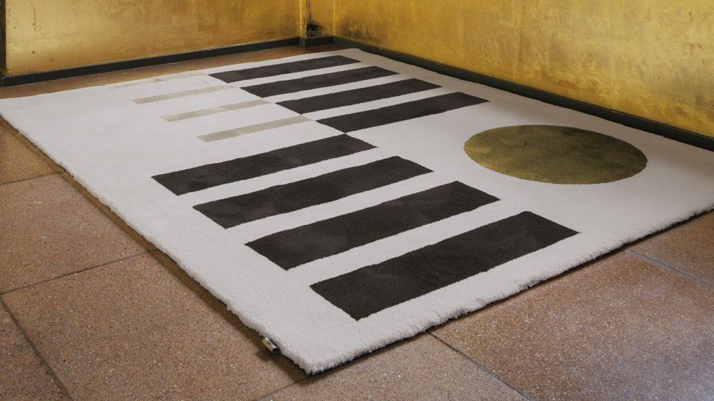 tapis de sol bauhaus wool silk limited edition geometric indoor