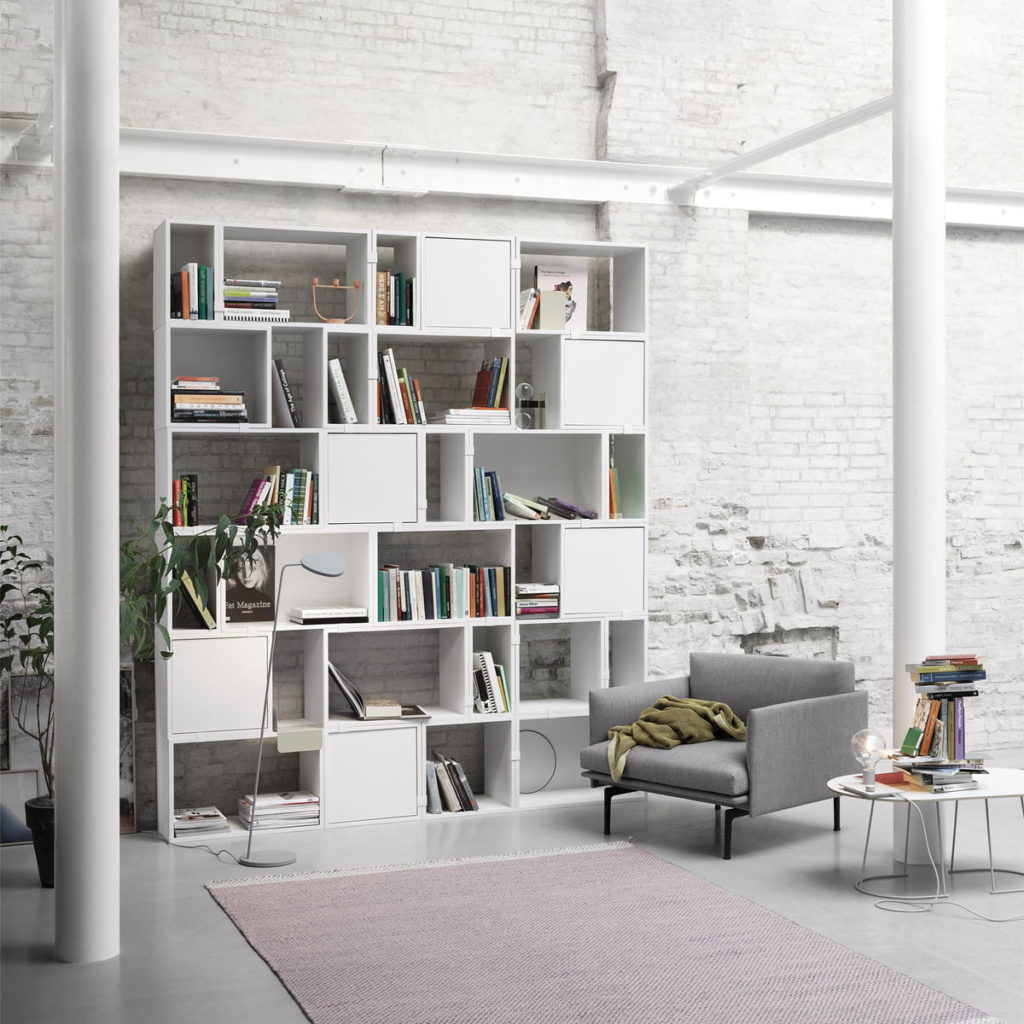 rangement bibliothèque muuto stacked storage system